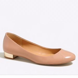 J. Crew Nude Pump with Gold/Metallic Block Heel